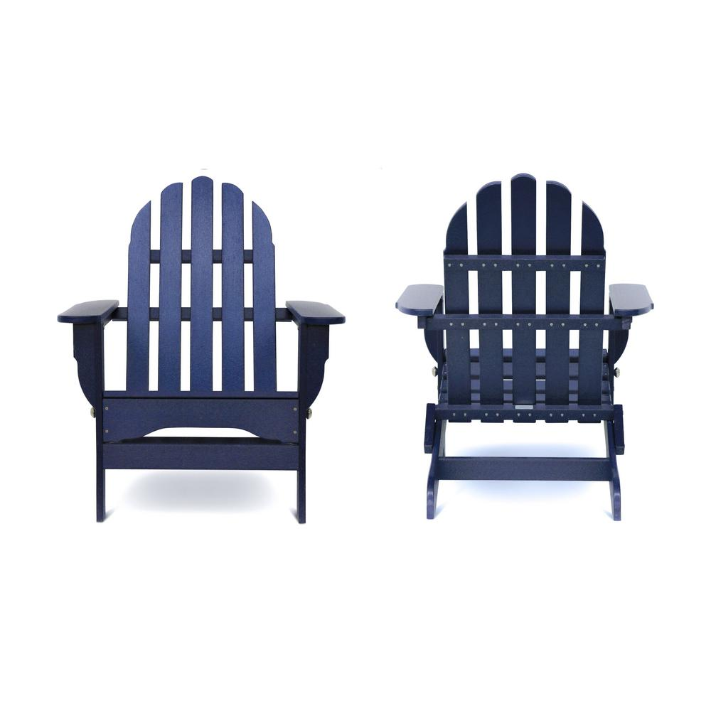 Icon Navy Recycled Plastic Folding Adirondack Chair (2-Pack)