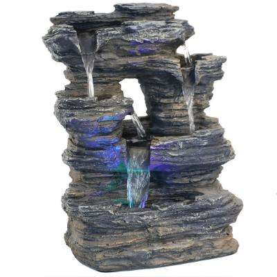 13.5 in. 5-Stream Rock Cavern Tabletop Fountain with Multi-Colored LED Lights