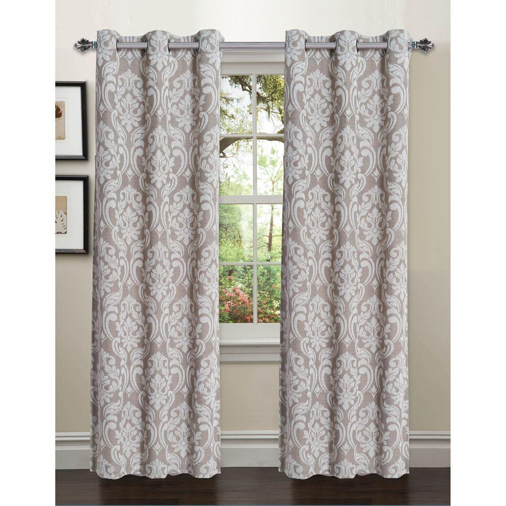 Window Elements Semi-Opaque Elinor Linen Blend Jacquard 84 in. L Grommet Curtain Panel Pair, Caribou (Set of 2)