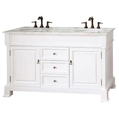 Cambridge Wh 60 in. Double Vanity in White with Marble Vanity Top in White