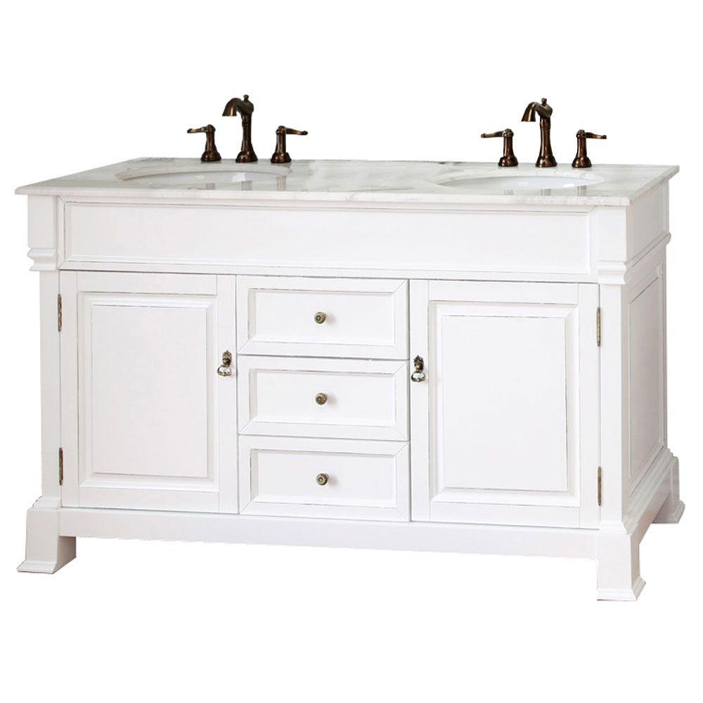 Cambridge Wh 60 in. Double Vanity in White with Marble Vanity
