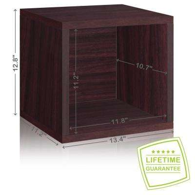 Eco Stackable zBoard  11.2 x 13.4 x 12.8 Tool-Free Assembly Storage Cube Unit Organizer in Espresso Wood Grain