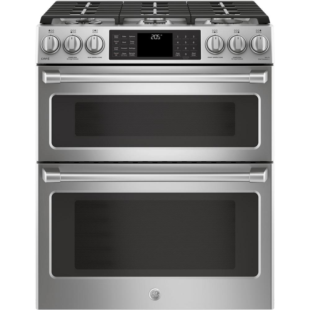 GE Cafe 6.7 cu. ft. Slide-In Double Oven Smart Dual Fuel Range with Self-Cleaning Convection Oven in Stainless Steel