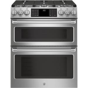 Click here to buy GE Cafe 6.7 cu. ft. Slide-In Double Oven Smart Dual Fuel Range with Self-Cleaning Convection Oven and WiFi in Stainless Steel by GE Cafe.