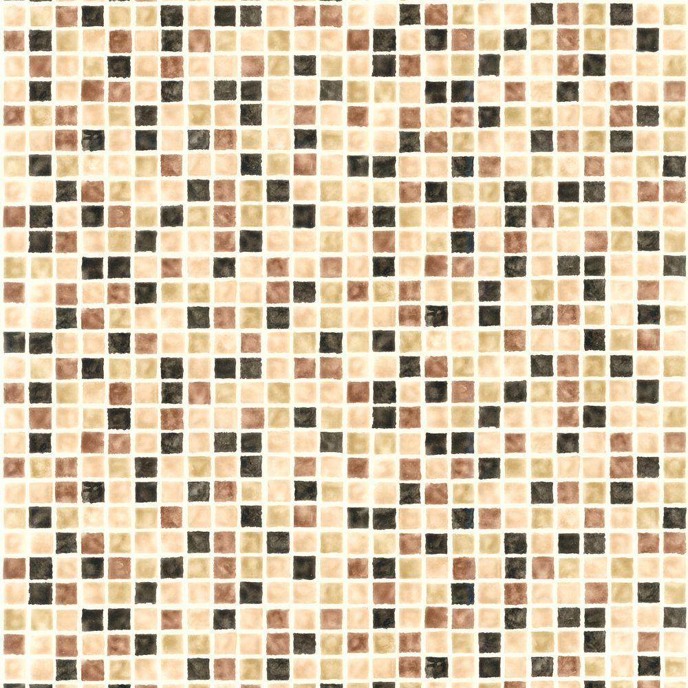 Corfu Brown Tiles Wallpaper