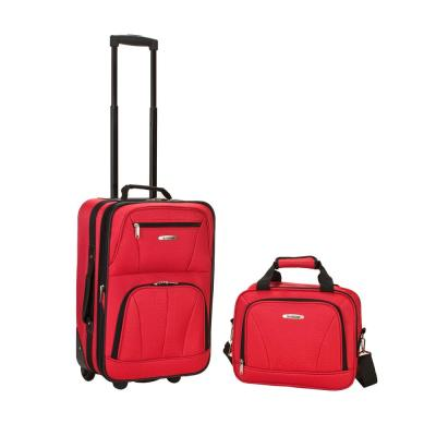 Rockland Rio Expandable 2-Piece Carry On Softside Luggage Set, Red