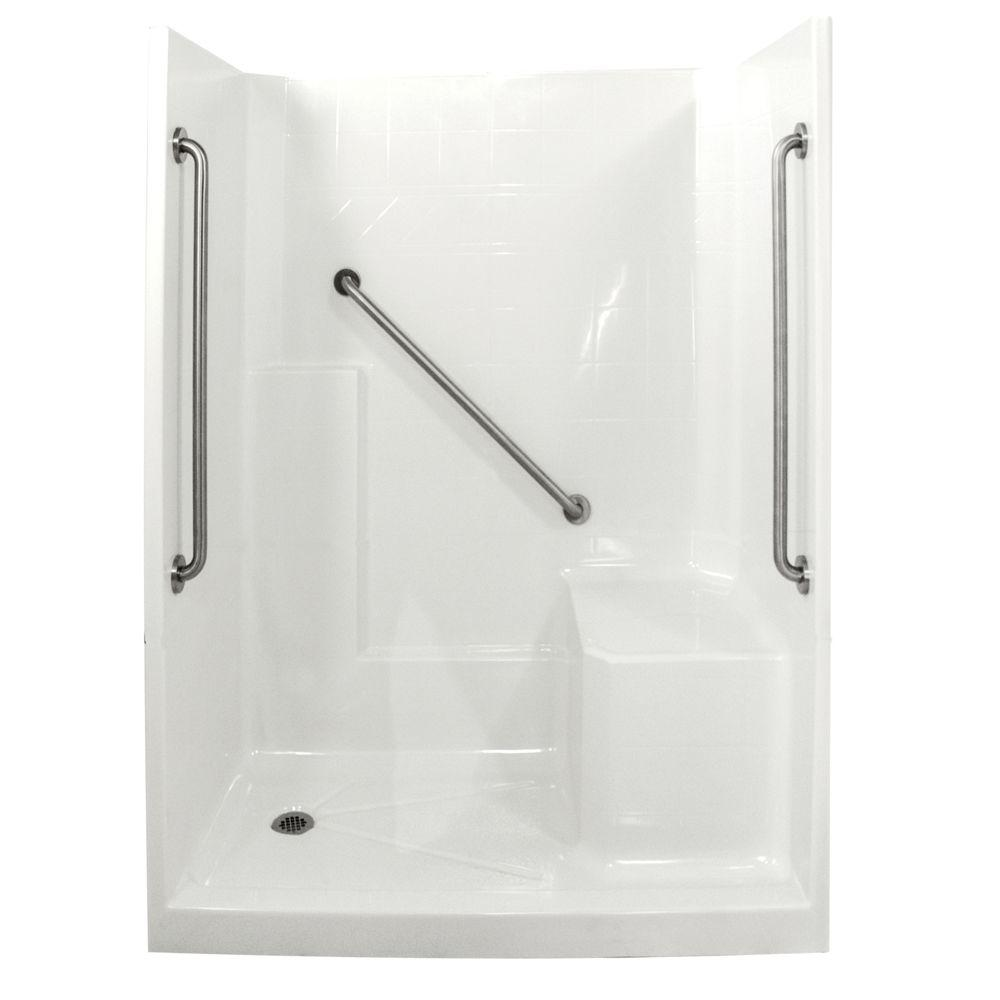 Ella standard plus 36 33 in x 60 in x 77 in low threshold shower kit in white with right side - Walk in shower base kit ...