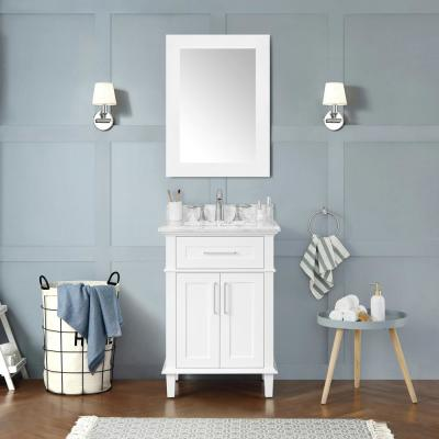Sonoma 24 in. W x 20.25 in. D Vanity in White with Carrara Marble Top with White Sinks