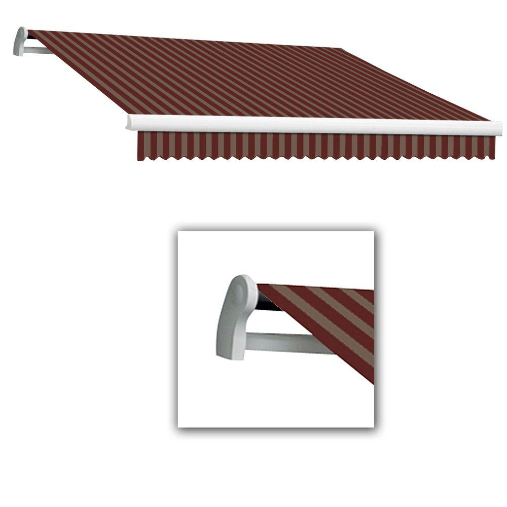 AWNTECH 12 ft. LX-Maui Left Motor with Remote Retractable Acrylic Awning (120 in. Projection) in Burgundy/Tan