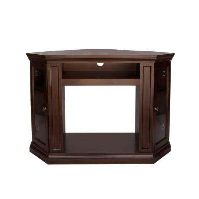 40 in. Freestanding Corner Electric Fireplace TV Stand in Espresso