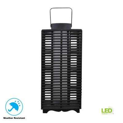 18 in. Solar and Battery Powered Black Outdoor Integrated LED Resin Rattan Lantern Light
