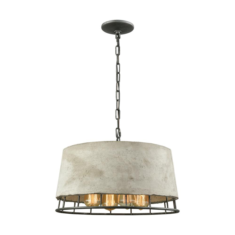 Titan lighting brocca 4 light round silverdust iron chandelier with titan lighting brocca 4 light round silverdust iron chandelier with concrete shade aloadofball Image collections