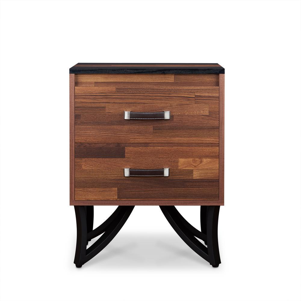 Acme Furniture Noella Walnut and Sandy Black End Table 80577