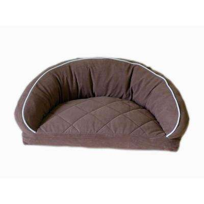 Small Microfiber Semi Circle Lounge Dog Bed - Chocolate with Linen Piping