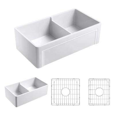Olde London Reversible Farmhouse Fireclay 33 in. Double Bowl Kitchen Sink in White with Grid
