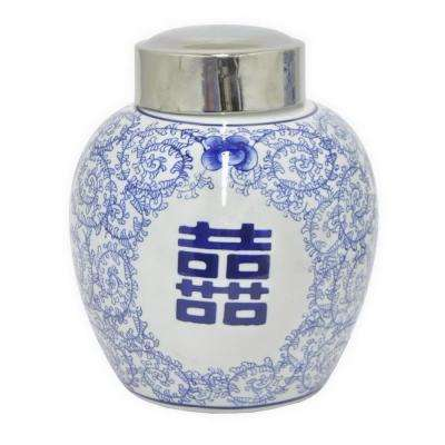 10 in. Blue and White Ceramic Round Jar with Silver Lid