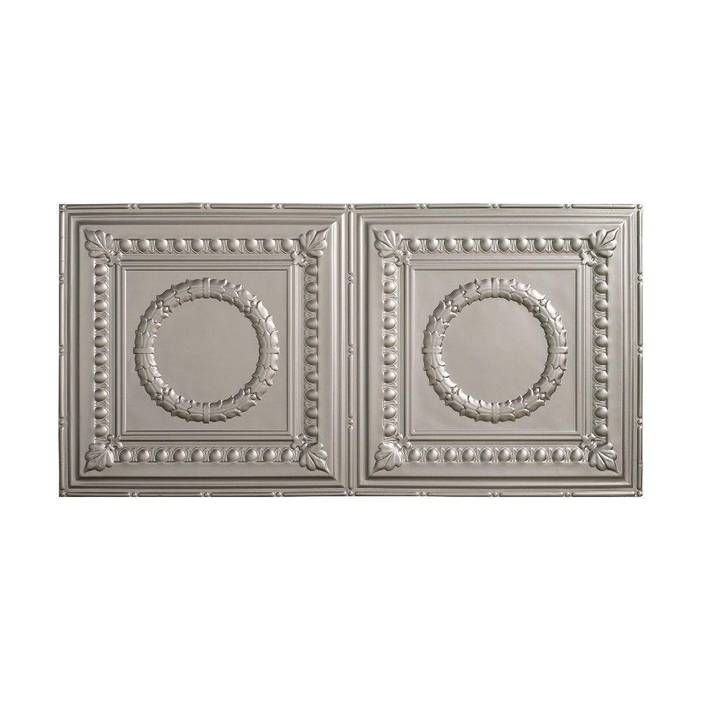 Rosette - 2 ft. x 4 ft. Glue-up Ceiling Tile in Argent Silver