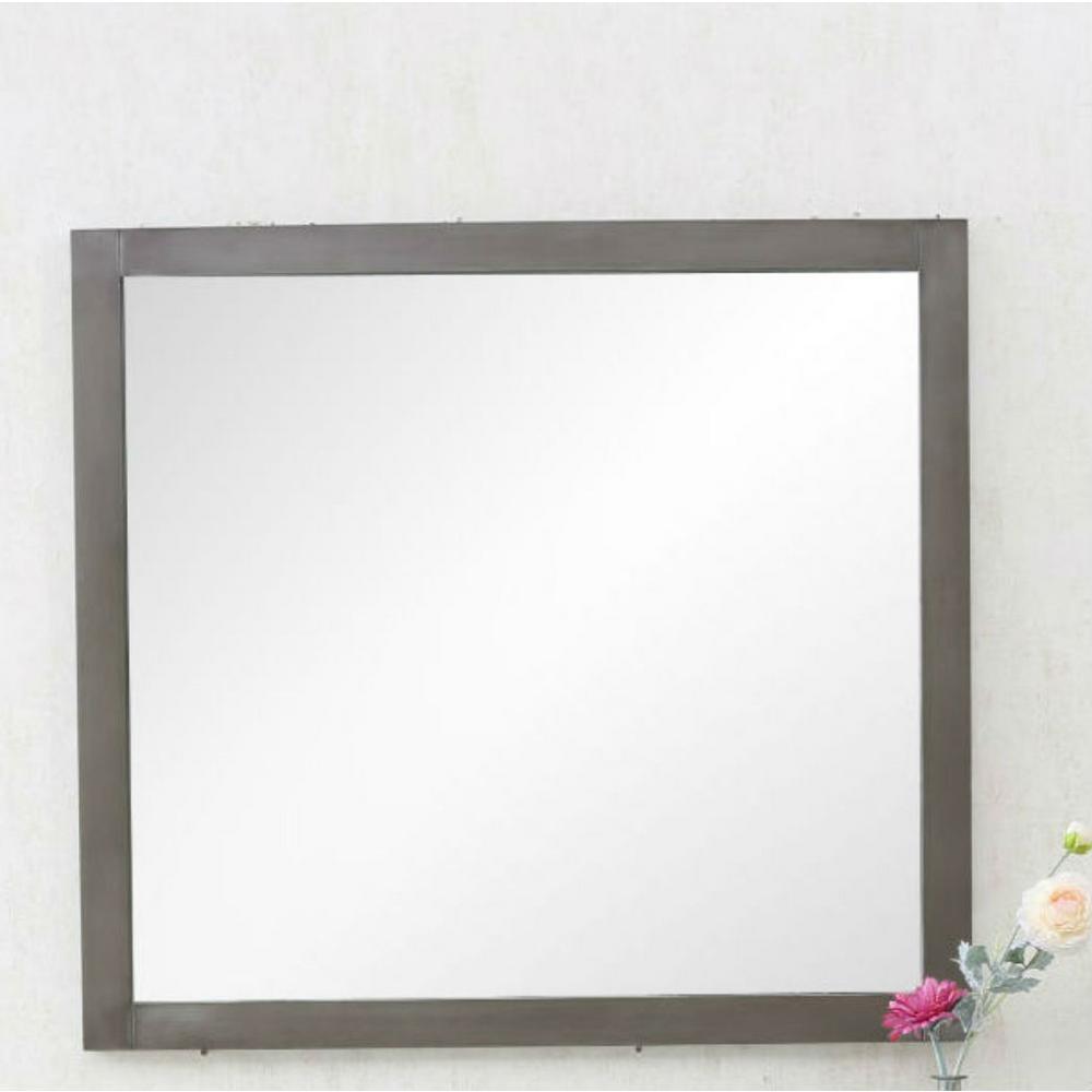 36 in. x 33 in. Framed Wall Mirror in Silver Gray