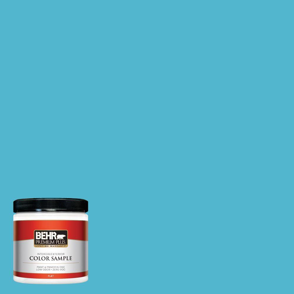 BEHR Premium Plus 8 oz. #520B-5 Liquid Blue Interior/Exterior Paint Sample
