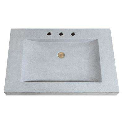 33 in. W x 22 in. D x 3 in. H Stone Integrated Vanity Top in Dark Gray