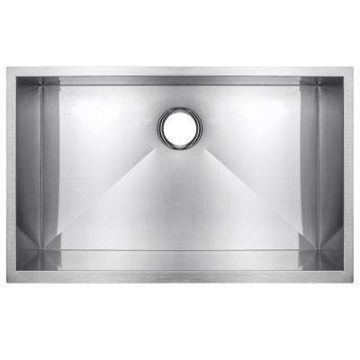 Handmade Undermount Stainless Steel 33 in. x 22 in. x 9 in. Single Bowl Kitchen Sink in Brushed Finish