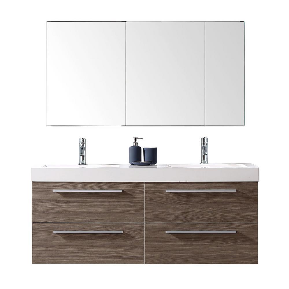 54 inch vanity double sink. Finley 54 In  W X 19 D Vanity Grey Oak With Poly 50 58 Double Sink Bathroom Vanities Bath The Home Depot