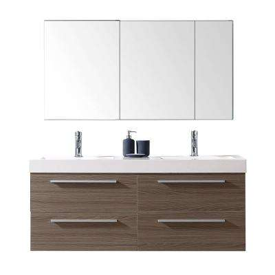 Finley 54 in. W x 19 in. D Vanity in Grey Oak with Poly-Marble Vanity Top in White with White Square Basin and Mirror