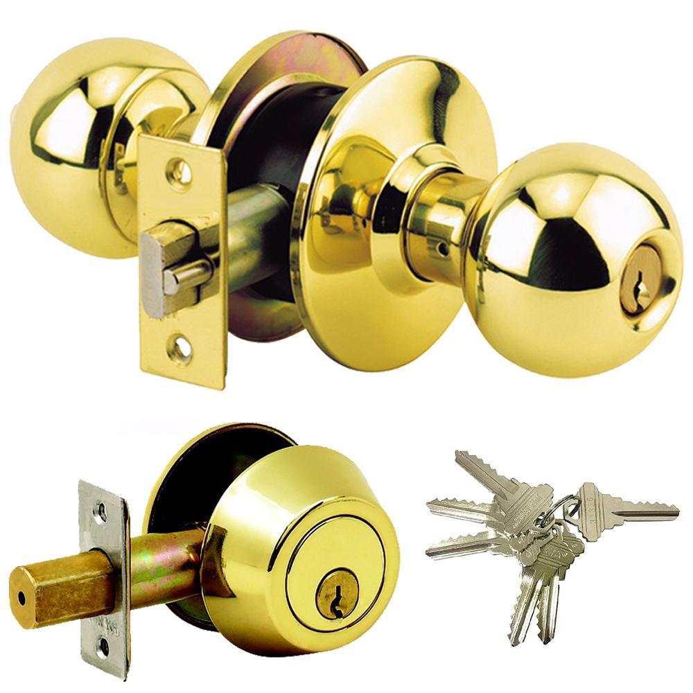 Brass Grade 3 Combo Lock Set with Entry Door Knob and Deadbolt, 6 SC1 Keys