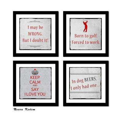 "Four 10 in. x 10 in. ""Fun Art 2"" by Neeva Kedem Framed Printed Wall Art"