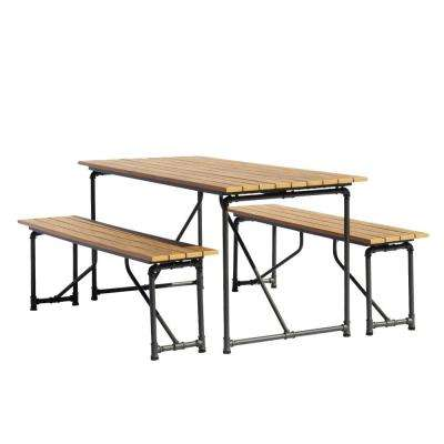 Admirable Steamfitter Steel Outdoor Picnic Table And Benches Customarchery Wood Chair Design Ideas Customarcherynet