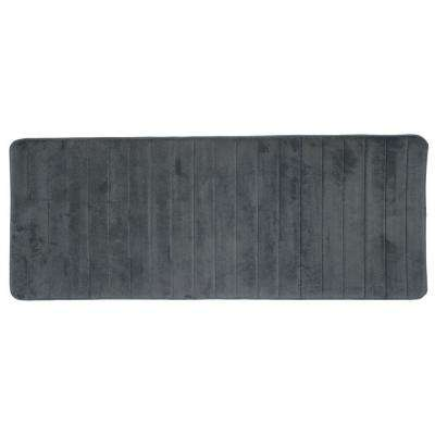 Silver 24.25 in. x 60 in. Memory Foam Striped Extra Long Bath Mat