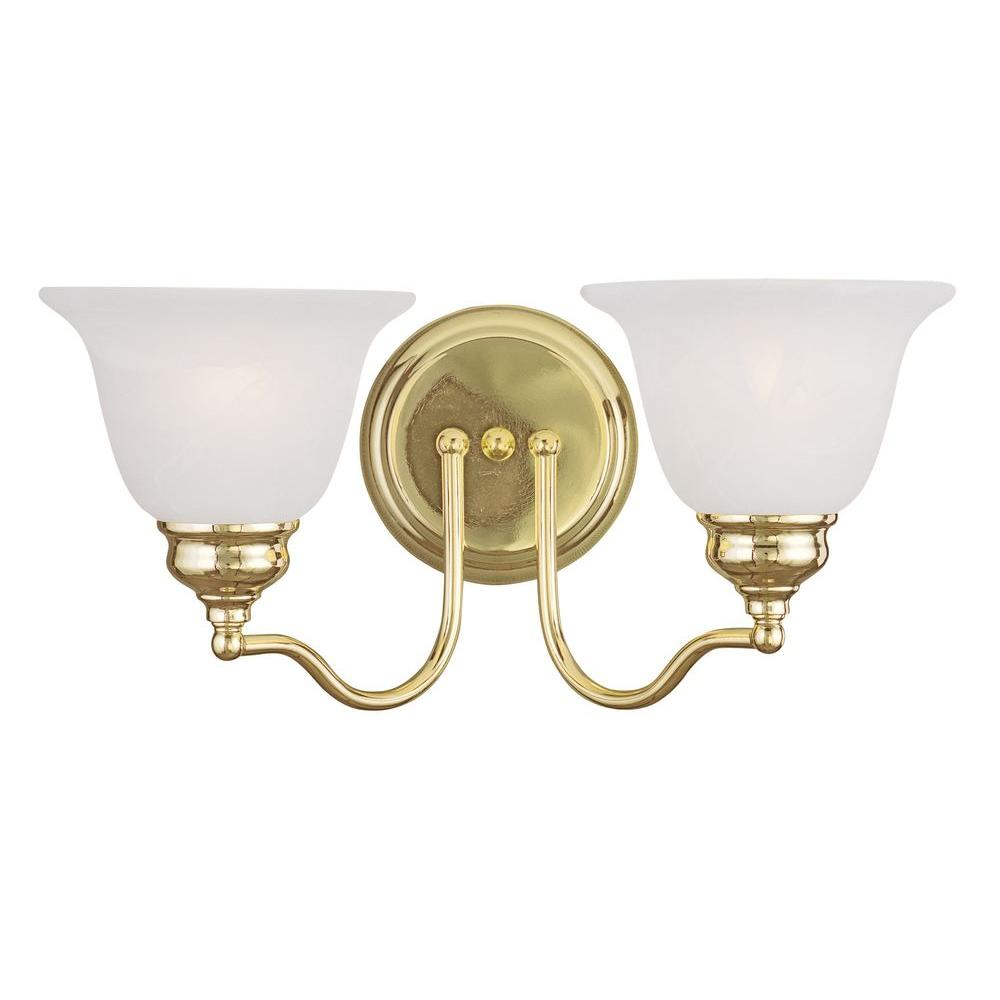 Livex Lighting Providence 2 Light Polished Brass Incandescent Wall Vanity Light 1352 02 The