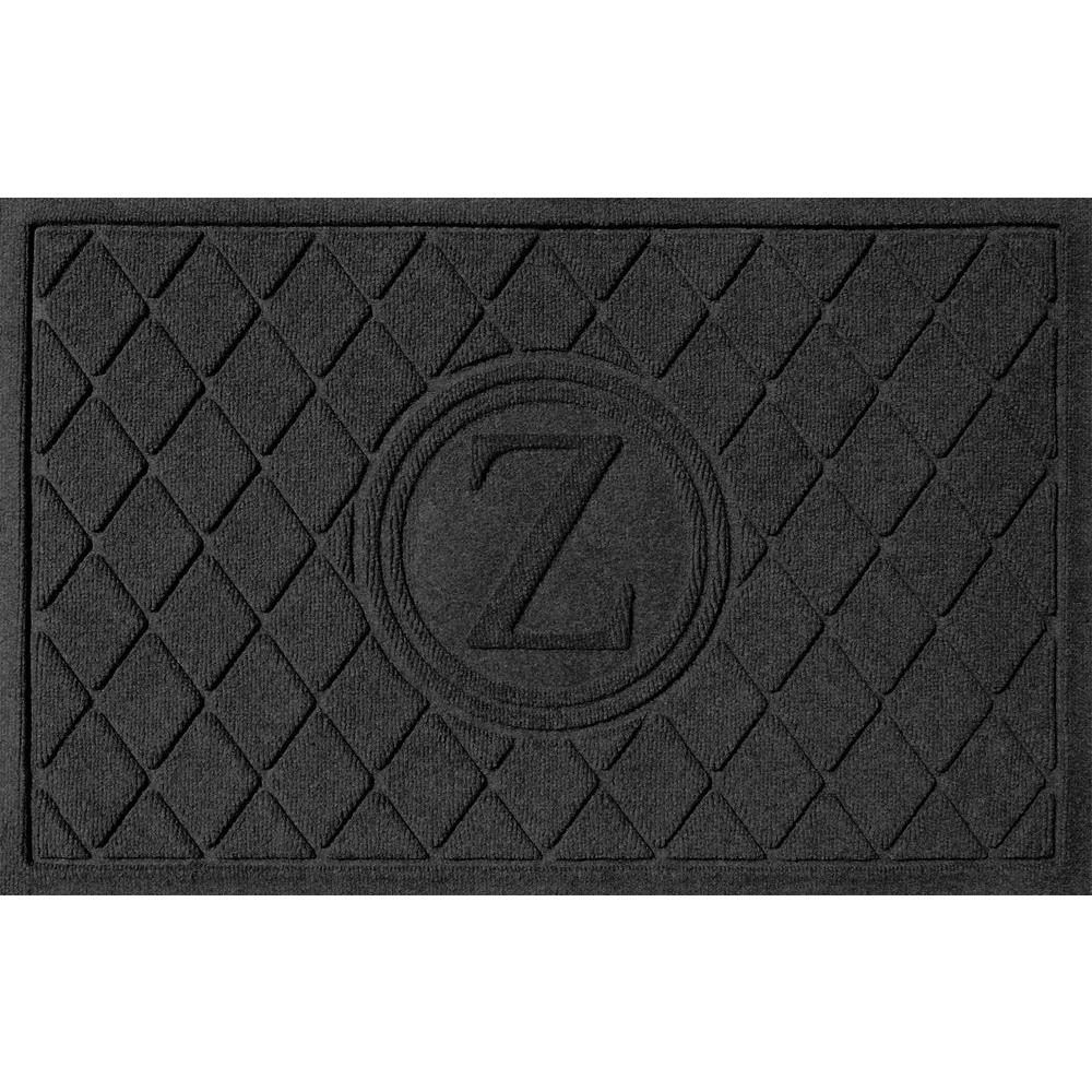 Bungalow Flooring Argyle Charcoal 24 in. x 36 in. Monogram Z Door Mat
