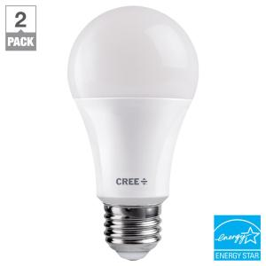 Cree 60W Equivalent Soft White (2700K) A19 Dimmable Exceptional Light Quality LED Light Bulb (2-Pack)