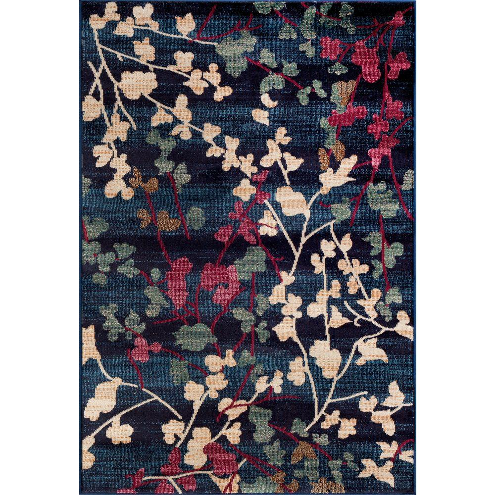 World Rug Gallery Contemporary Floral Navy 5 Ft. 3 In. X 7