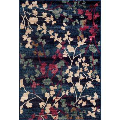 Contemporary Floral Navy 8 ft. x 10 ft. Indoor Area Rug