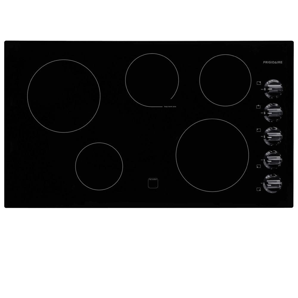 Frigidaire 36 in. Radiant Electric Cooktop in Black with 5 Elements including a Keep Warm Zone