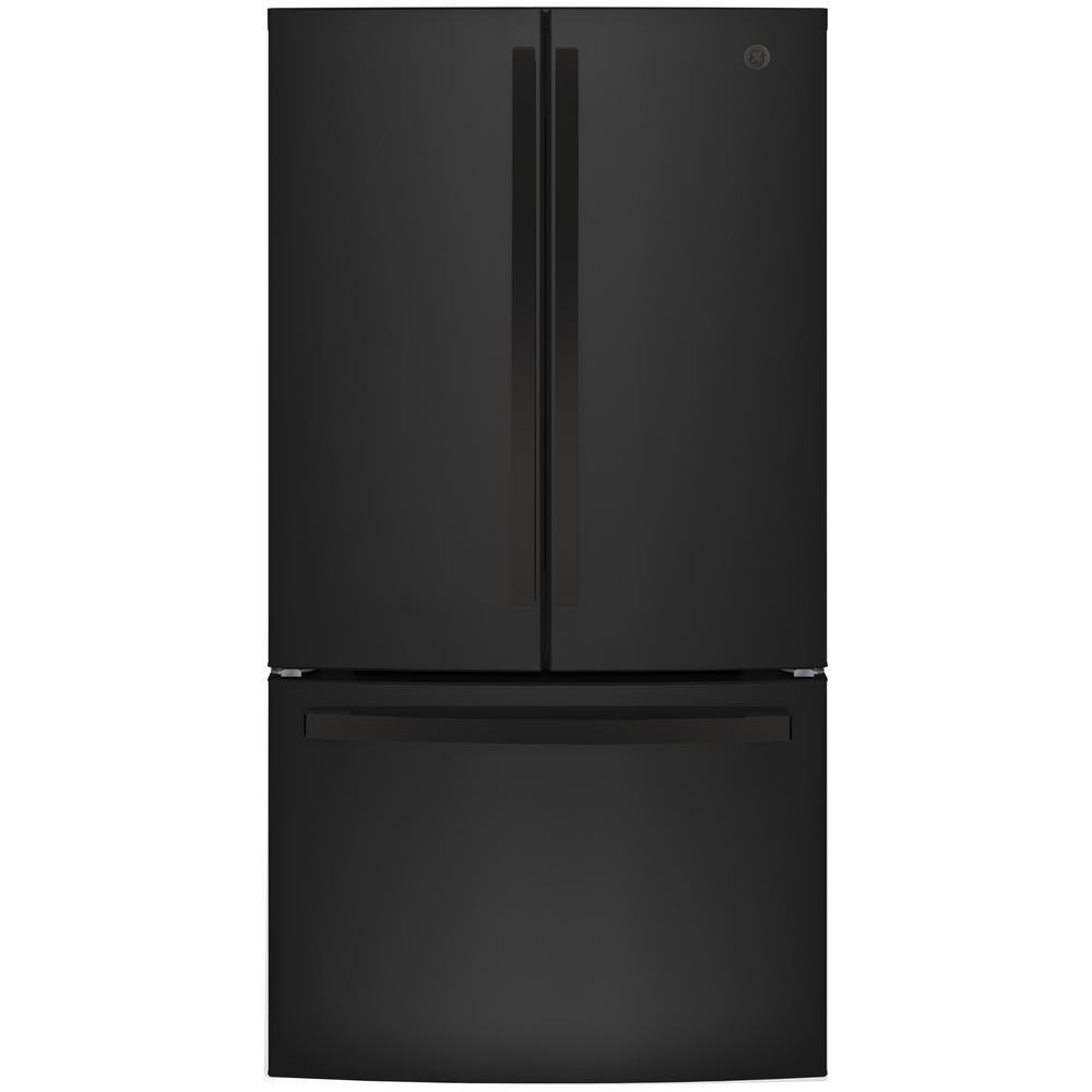 Ge 27 Cu Ft French Door Refrigerator In Black Energy Star Gne27jgmbb The Home Depot