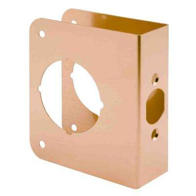1-3/8 in. x 4-1/2 in. Thick Solid Brass Lock and Door Reinforcer, 2-1/8 in. Single Bore, 2-3/8 in. Backset