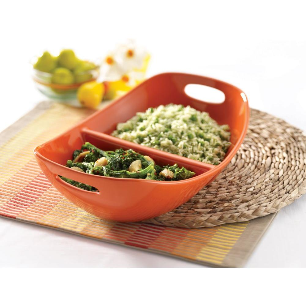 Rachael Ray 14 in. Divided Dish with Handles in Orange