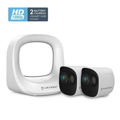 SmartHome Indoor/Outdoor Security Camera System Wireless Kit with Smart Hub Connection 2x1080p Battery Wire-Free Cameras