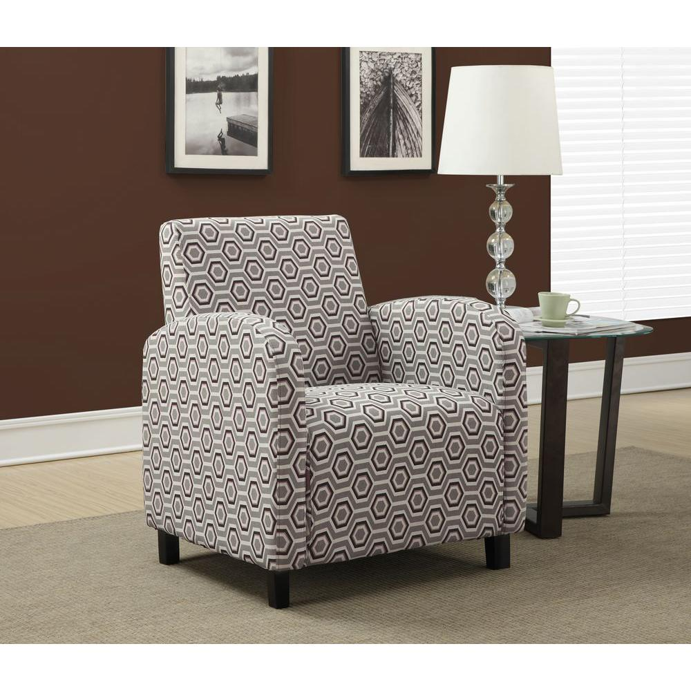 Monarch Specialties Grey And Earth Tone Fabric Arm Chair