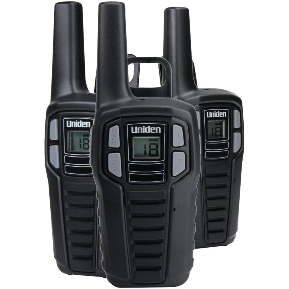 Uniden 16-Mile 2-Way FRS/Gmrs Radios with Batteries (3-Pack) These Uniden 16-Mile 2-Way FRS/GMRS Radios are great for keeping in touch when you're out with family and friends. Whether you're camping, shopping, hiking or any other activity these radios will help you stay connected without having to worry about cell phone coverage or minutes. Enjoy simple, fuss-free two-way communication with Uniden.