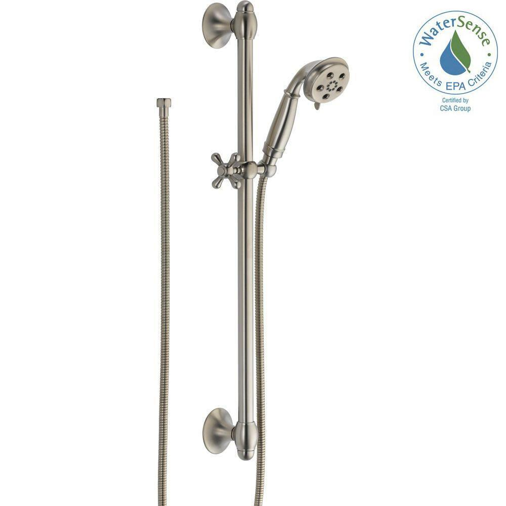 3-Spray 2.0 GPM Hand Shower with Slide Bar in Stainless Featuring