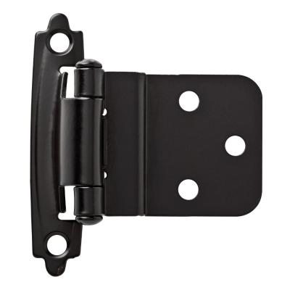 Matte Black Self-Closing 3/8 in. Inset Cabinet Hinge (1-Pair)