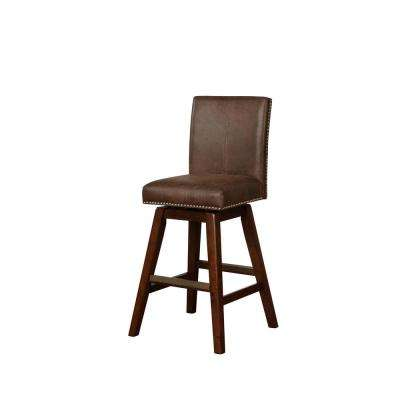 Cameron 30 in. Brown Wooden Swivel Bar Stool