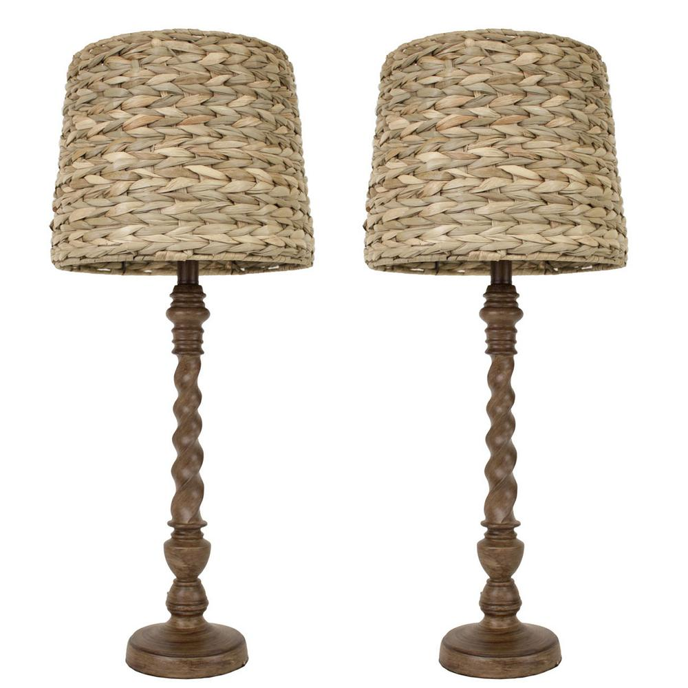 Brown Table Lamp With Seagrass Shade Set
