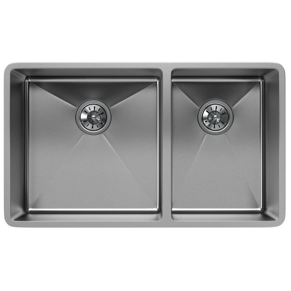 Crosstown Undermount Stainless Steel 32 in. Double Bowl Kitchen Sink