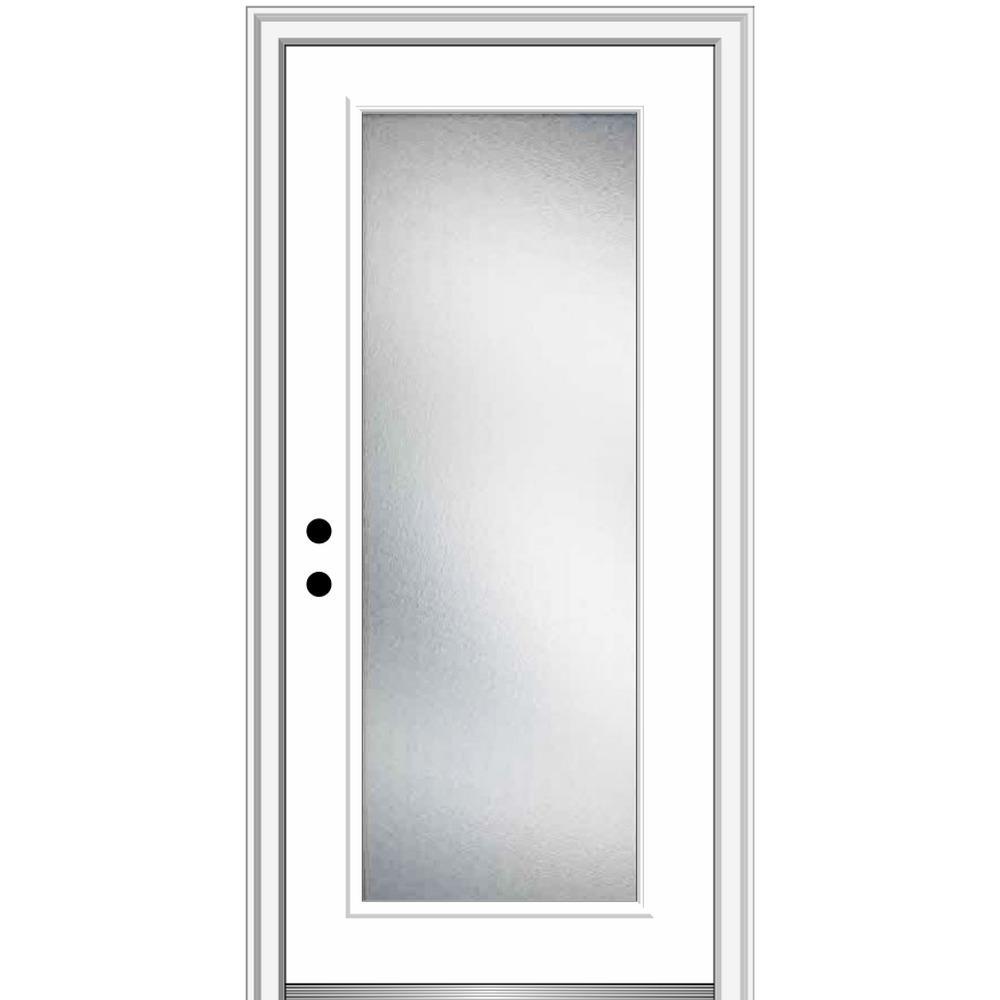 32 in. x 80 in. Micro Granite Right-Hand Inswing Full Lite Decorative Primed Steel Prehung Front Door, 6-9/16 in. Frame