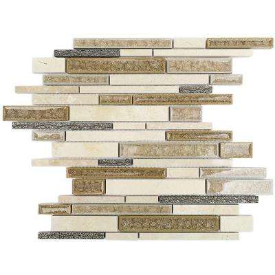 Olive Branch Crema Marfil 11-3/4 in. x 11-3/4 in. x 10 mm Glass and Stone Mosaic Tile